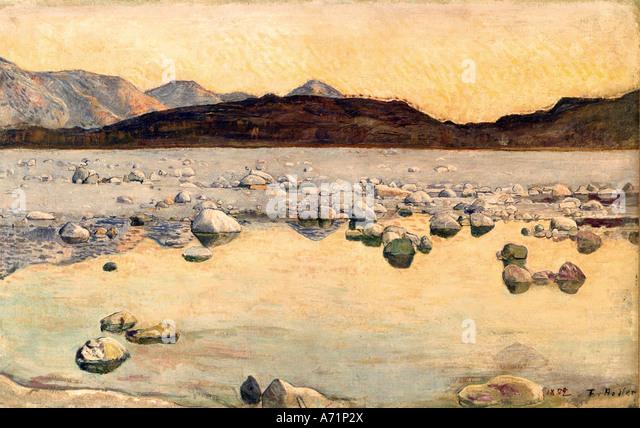 'fine arts, Hodler, Ferdinand, (1853 - 1918), painting, 'Seeufer', ('lake shore'), 1892, house - Stock Image