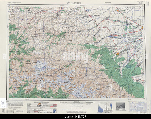 USSR map NK 38-1 Nal'chik - Stock Image