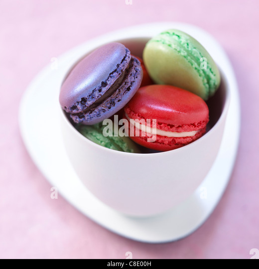 Three different flavored macaroons - Stock Image