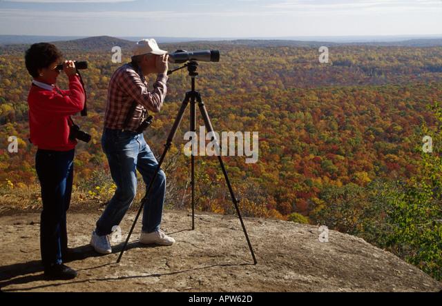 New Jersey Highlands Wildcat Ridge Wildlife Management Area Hawk Watch Overlook fall colors birders - Stock Image
