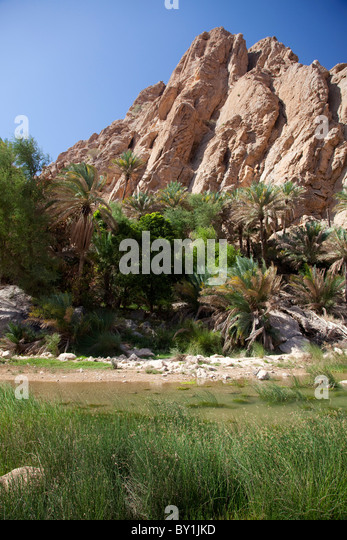 Oman, Wadi Bani Khalid. The lush green plants contrast with the arid rocks at this popular Wadi. - Stock Image