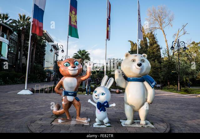 The mascots for the 2014 Winter Olympic, Bely Mishka (Polar Bear), Leopard, and Zaika the Doe Hare - Stock Image