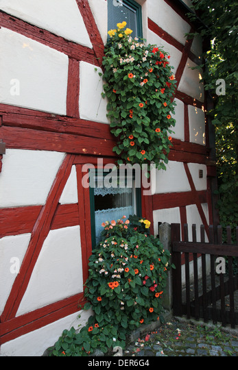 facade of half-timbered house at the city Hilpoltstein, Middle Franconia, Franconia, Bavaria, Germany. Photo by - Stock Image