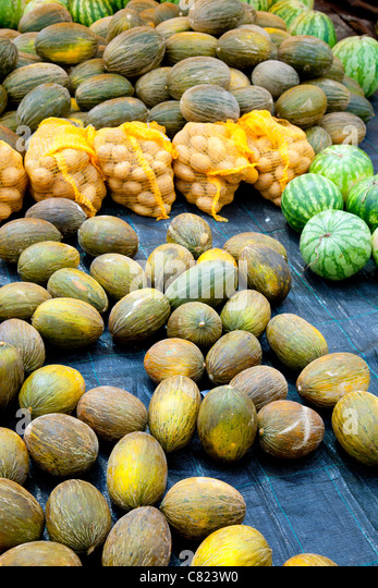 fruits market with melon watermelon and potatoes - Stock Image
