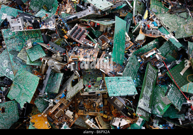Electronic scrap, old used computer parts for recycling - Stock Image