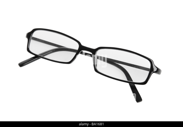 Reading glasses cutout on white background - Stock Image
