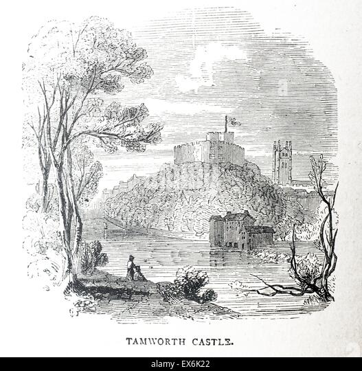 Tamworth Castle, Midlands UK, 1850 - Stock-Bilder