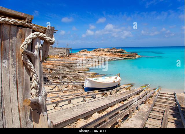 Es Calo de San Agusti port in Formentera island wooden boat railways - Stock Image