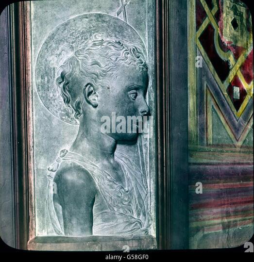 Schlichte Größe weiß Donatello mit Anmut zu verbinden in dem prächtigen Relief des Johannes - Stock Image
