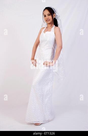 Christen bride in white gown and veil MR#733C - Stock-Bilder