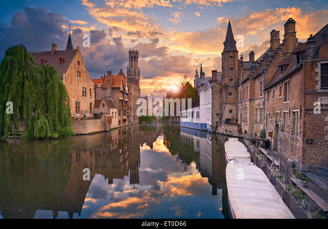 Bruges. Image of famous most photographed location in Bruges, Belgium during dramatic sunset. - Stock Image