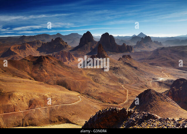 Sahara Desert, Hoggar mountains, Algeria, view from Assekrem pass - Stock Image