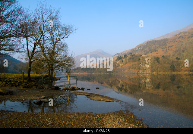 Y Aran from Llyn Gwynant, Snowdonia, North Wales, UK - Stock Image