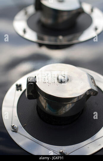 Detail of the filler cap(s) on a vintage Bugatti - Stock Image