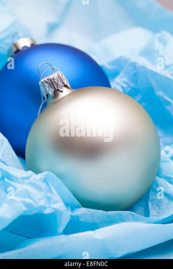 Two Christmas baubles - Stock Image