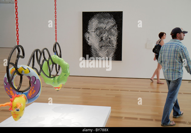Atlanta Georgia High Museum of Art gallery collection exhibition artwork contemporary painting Moustache Jeff Koons - Stock Image