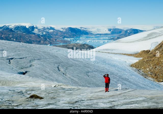 The Mítivagkat ridge and glacier, Angmagssalik Island, Sermilik Fjord, East Greenland - Stock Image