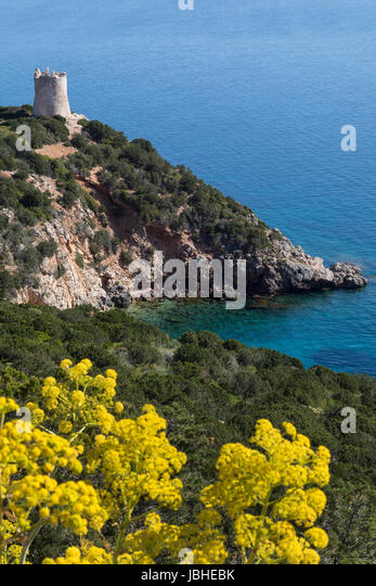 The northwest coast of Sardinia. View from the headland of Capo Caccia in Sassari Province, Italy. - Stock Image