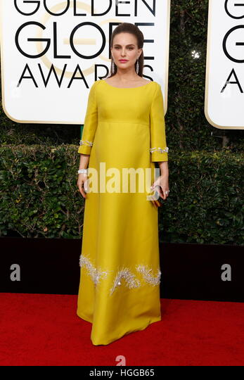 Beverly Hills, Us. 08th Jan, 2017. Natalie Portman arrives at the 74th Annual Golden Globe Awards, Golden Globes, - Stock Image