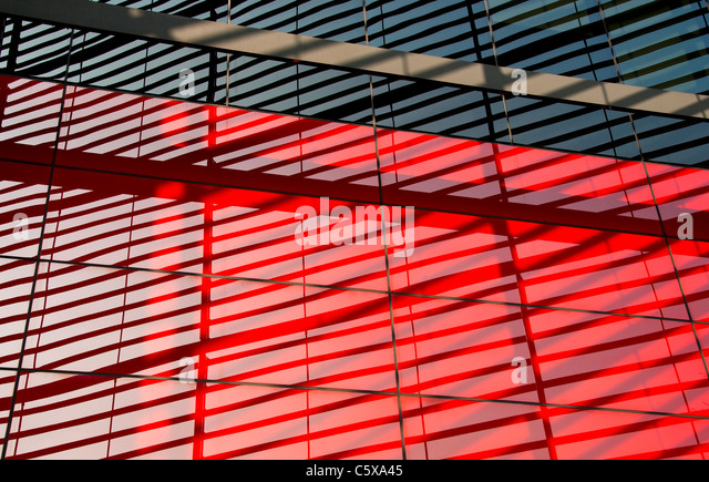 Modern black and red building detail - Stock Image