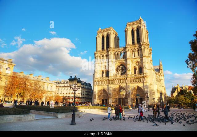 PARIS - NOVEMBER 2: Notre Dame de Paris cathedral on November 2, 2016 in Paris, France. It's the finest example - Stock Image