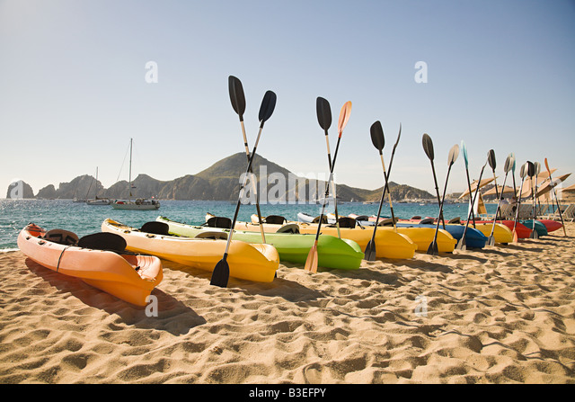 Canoes on luxury beach resort - Stock-Bilder