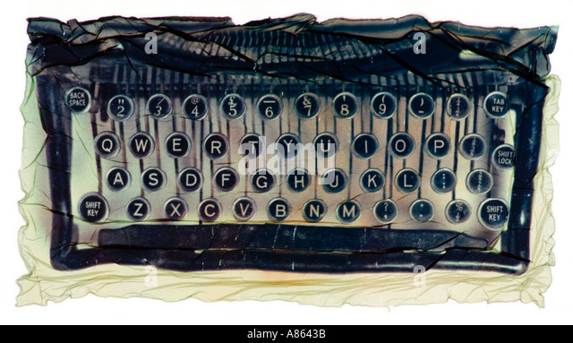 old typewriter keyboard as a polaroid emulsion transfer - Stock Image