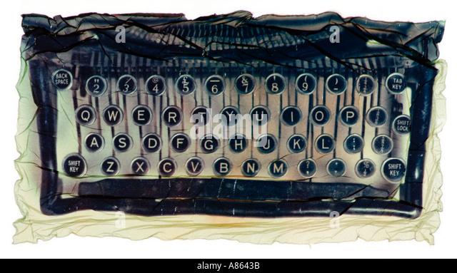 old typewriter keyboard as a polaroid emulsion transfer - Stock Image