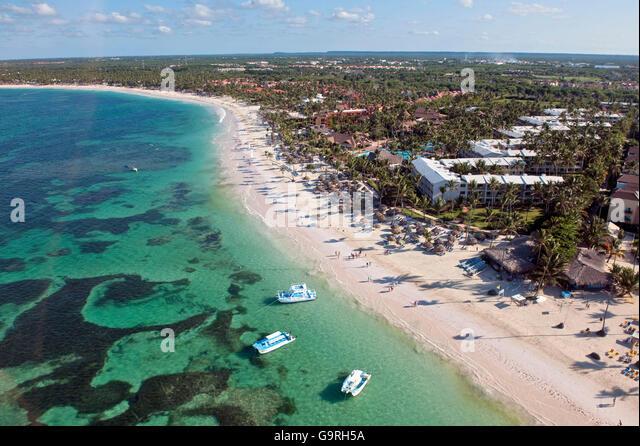 Beach, Beach Resort, reef, Bavaro, Punta Cana, La Altagracia Province, Dominican Republic - Stock Image