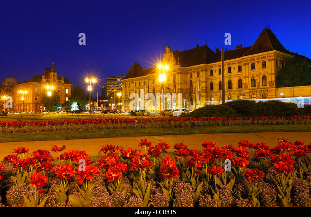Zagreb night. Art And Craft museum on the right - Stock Image