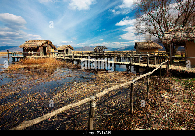 The prehistoric lakeside settlement of Dispilio, in lake Orestias, Kastoria, Macedonia, Greece - Stock Image