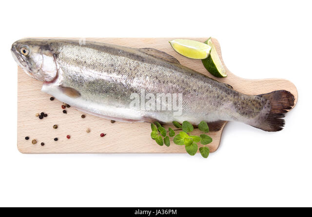 angle, fish, kitchen, cuisine, boil, cooks, boiling, cooking, trout, grill, - Stock Image