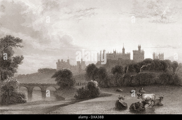 Alnwick Castle, Alnwick, Northumberland, England, in the early 19th century. Used as location in Harry Potter films. - Stock Image