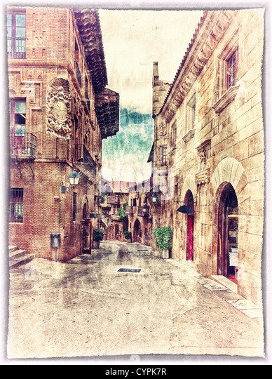 vintage style postcard of traditional architectural complex in Barcelona, Spain - Stock Image