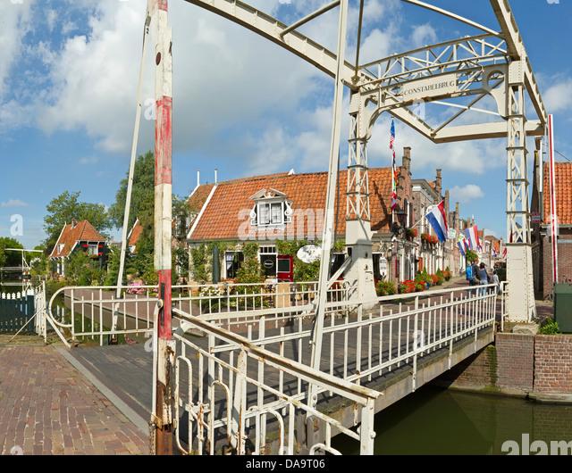 Netherlands, Holland, Europe, Edam, Metal, bridge, drawbridge, city, village, summer, - Stock Image
