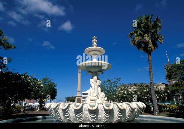 Barbados West Indies Caribbean Bridgetown Dolphin Fountain - Stock Image