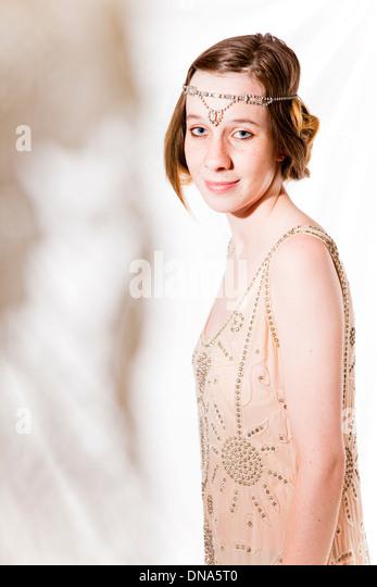 young, woman, girl, teen, dress, twenty's era, flapper, mystery, mystique - Stock Image