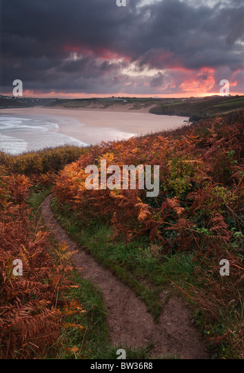 Autumn Sunrise over Crantock Bay near Newquay on the North Cornish coast - Stock Image