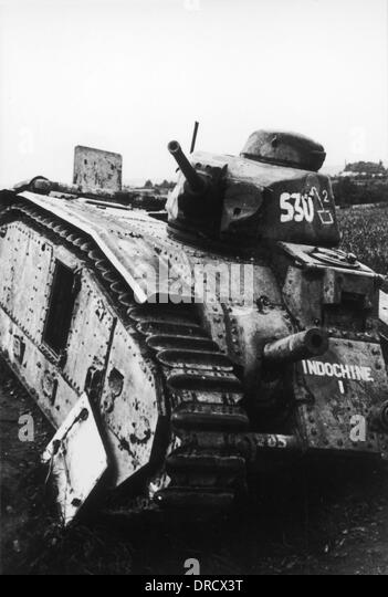 Destroyed French tank WWII - Stock Image