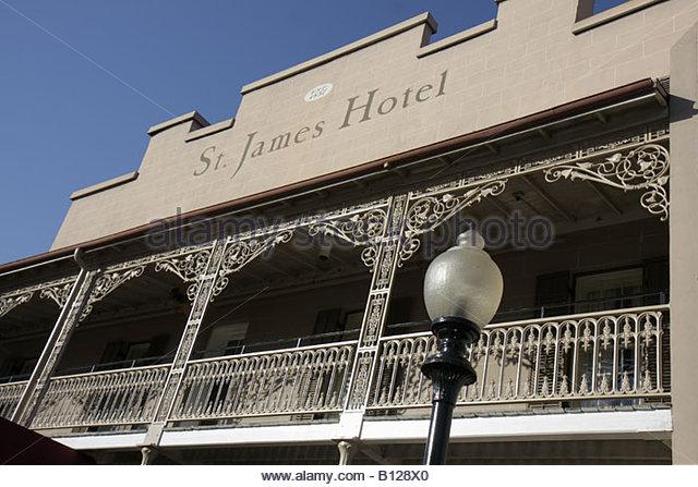 Selma Alabama St. James Hotel established 1837 balcony wrought iron railing lamppost - Stock Image