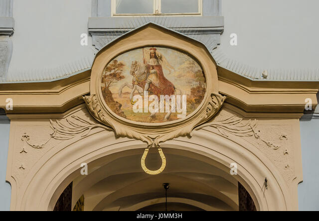 Prague is full of beautiful 19th century houses and like a catalogue of architectural history. - Stock Image