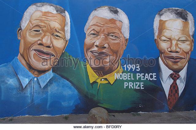 Nelson Mandela wall mural - Stock-Bilder