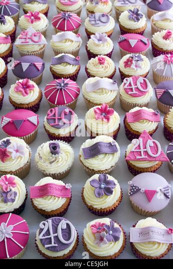 40th birthday cupcakes - Stock Image