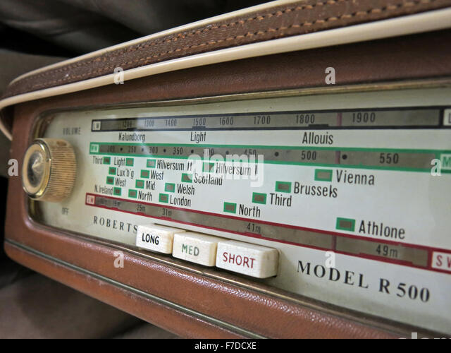 Antique Roberts Shortwave, Mediumwave, Longwave radio dial model R500 - Stock Image