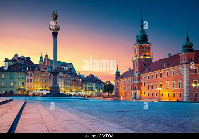 Warsaw. Image of Old Town Warsaw, Poland during sunset. - Stock Image