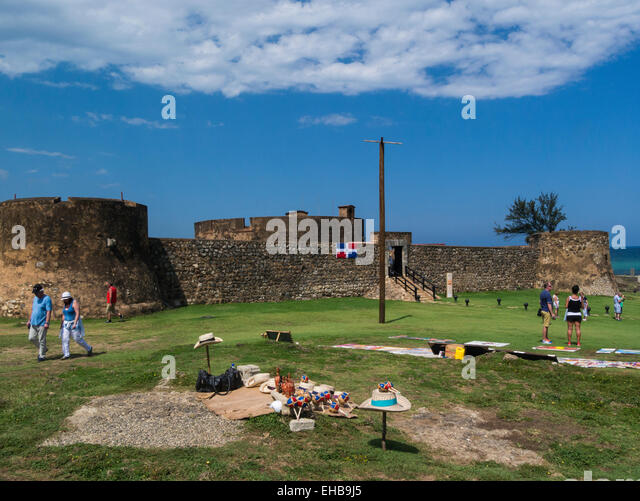 San Felipe Fort built 1564 defend island from pirates Puerto Plata Dominican Republic also known as El Morro de - Stock Image