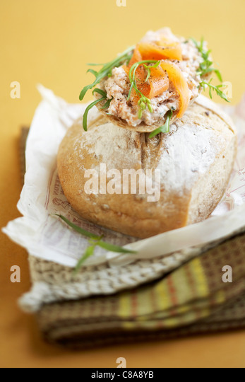 Potted salmon open sandwich - Stock Image