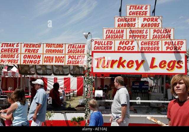 Indiana Valparaiso Porter County Fair sign food turkey legs - Stock Image
