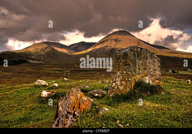 Landscape of the Skye Cuillin's Scotland National Scenic Area in dramatic weather - Stock Image