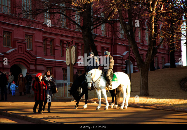 Russia, Moscow; Police Corps on horseback in central Moscow just behind the Historical Museum. - Stock Image